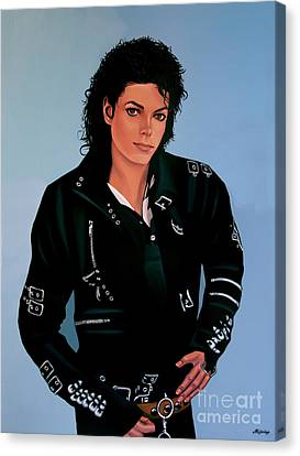 Diana Ross Canvas Print featuring the painting Michael Jackson Bad by Paul Meijering