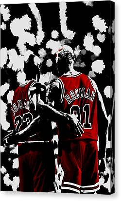Michael Jordan And Dennis Rodman Last Stand Canvas Print by Brian Reaves