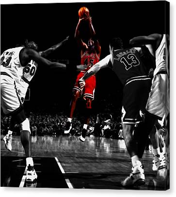 Michael Jordan Back From Retirement Canvas Print by Brian Reaves