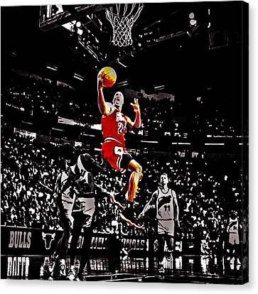 Michael Jordan Caught Them Looking Canvas Print by Brian Reaves