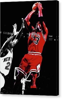 Michael Jordan Fade Away 1a Canvas Print by Brian Reaves