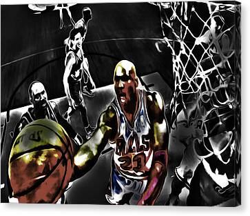 Michael Jordan Got Em Looking Canvas Print by Brian Reaves