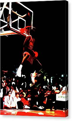 Michael Jordan Reverse Slam Dunk 2 Canvas Print by Brian Reaves