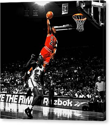 Michael Jordan Suspended In Air Canvas Print by Brian Reaves