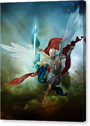 Male Angel Canvas Print featuring the digital art Michael by Mary Hood
