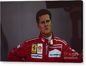 Michael Schumacher. 1996 British Grand Prix Canvas Print by Oleg Konin