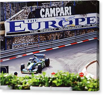 Michael Schumacher After Winning 1994 Monaco Gp Canvas Print by John Bowers