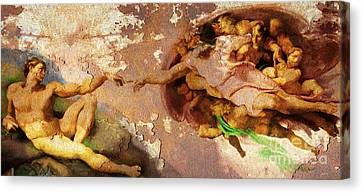 Michelangelo The Creation Of Adam In Rust 20150622 Canvas Print by Wingsdomain Art and Photography