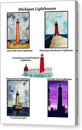 Michigan Lighthouses Collage Canvas Print by Michael Vigliotti