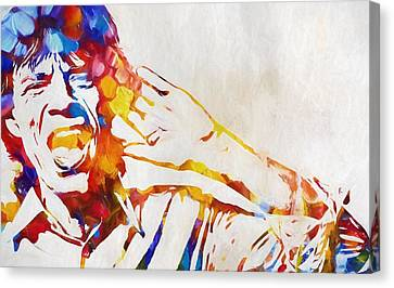 Mick Jagger Poster Canvas Print featuring the painting Mick Jagger Abstract by Dan Sproul
