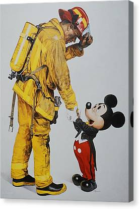 Mickey And The Bravest Canvas Print by Rob Hans