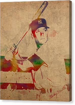 Mickey Mantle New York Yankees Baseball Player Watercolor Portrait On Distressed Worn Canvas Canvas Print by Design Turnpike