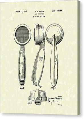 Microphone 1945 Patent Art Canvas Print by Prior Art Design