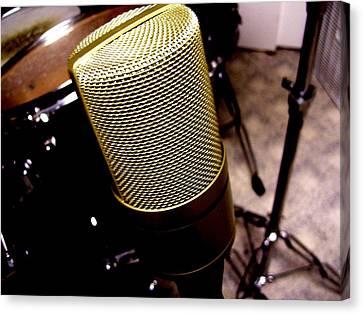 Microphone Canvas Print by Michael Grubb