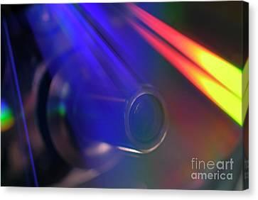Microscope Lens And Light Beams Canvas Print by Sami Sarkis