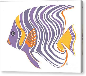 Mid Century Purple Fish Canvas Print by Stephanie Troxell
