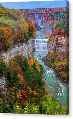 Middle Falls Of Letchworth State Park Canvas Print by Mark Papke