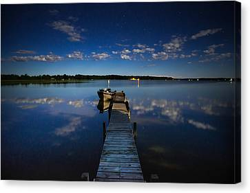Midnight At Shady Shore On Moose Lake Minnesota Canvas Print by Alex Blondeau
