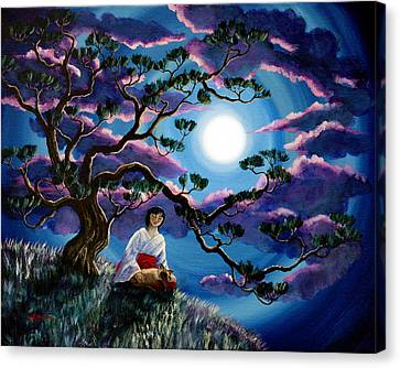 Miko And Cat Meditation Canvas Print by Laura Iverson