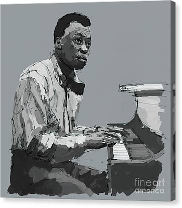 Miles Davis At The Piano Canvas Print by Pablo Franchi