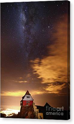 Milky Way Above Old Ski Hut At Mt Chacaltaya 4 Canvas Print by James Brunker