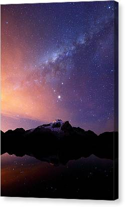 Milky Way And Mars Above Mt Huayna Potosi Canvas Print by James Brunker