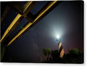 Milky Way Inside Hatteras Light Pavillon Canvas Print by Daniel Lowe