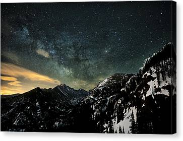 Milky Way Skies Over Glacier Gorge Canvas Print by Mike Berenson