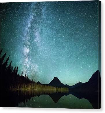 Milky Way // Two Medicine Lake, Glacier National Park Canvas Print by Nicholas Parker