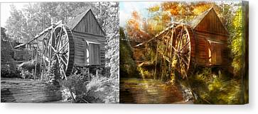 Mill - Cornelia, Ga - Grandpa's Grist Mill 1936 - Side By Side Canvas Print by Mike Savad