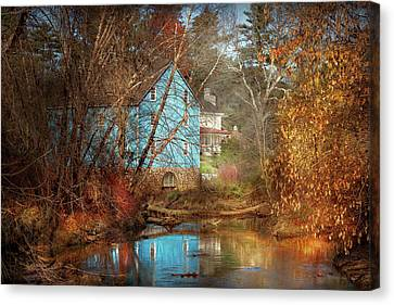 Mill - Walnford, Nj - Walnford Mill Canvas Print by Mike Savad