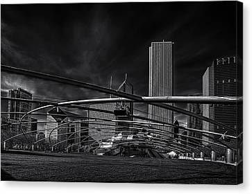 Millennium Park In Chicago Canvas Print by Andrew Soundarajan