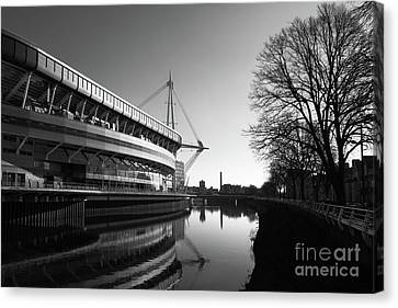 Millennium Stadium And River Taff Cardiff Canvas Print by James Brunker