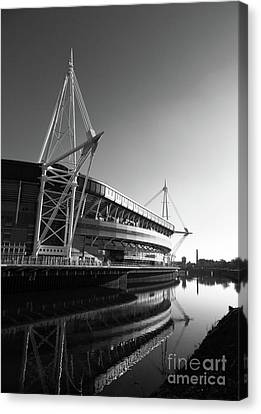 Millennium Stadium And River Taff Canvas Print by James Brunker