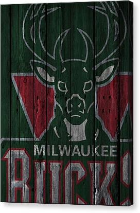 Milwaukee Bucks Wood Fence Canvas Print by Joe Hamilton