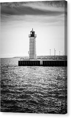Milwaukee Pierhead Lighthouse Photo In Black And White Canvas Print by Paul Velgos