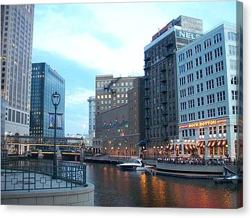 Milwaukee River Walk Canvas Print by Anita Burgermeister