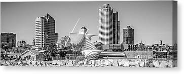 Milwaukee Skyline Panorama In Black And White Canvas Print by Paul Velgos