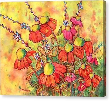 Mimosa Sky Flowers Canvas Print by Blenda Studio