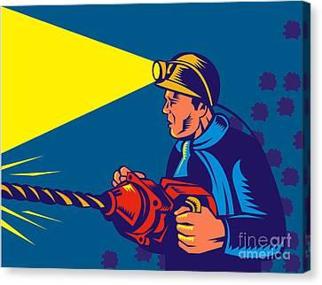 Miner With Jack Drill Canvas Print by Aloysius Patrimonio