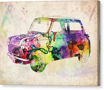 Mini Cooper Urban Art Canvas Print by Michael Tompsett