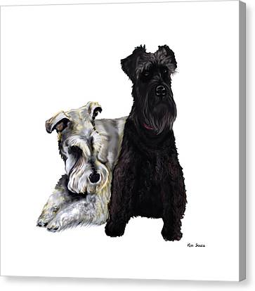 Mini Schnauzer Buddies Canvas Print by Kim Souza