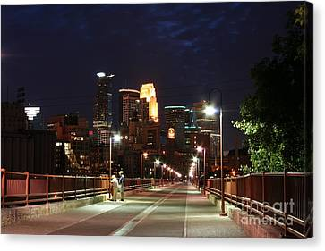 Minneapolis From The Stone Arch Bridge Canvas Print by Wayne Moran