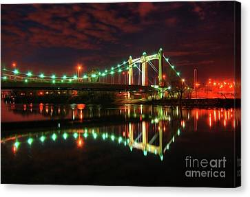 Minneapolis Skyline Hennepin Avenue Bridge Canvas Print by Wayne Moran