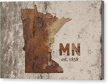 Minnesota State Map Industrial Rusted Metal On Cement Wall With Founding Date Series 036 Canvas Print by Design Turnpike