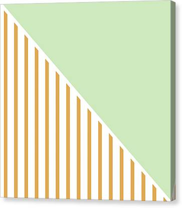 Mint And Gold Geometric Canvas Print by Linda Woods
