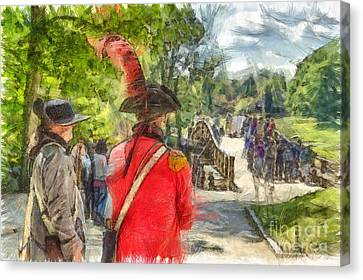 Minuteman And Redcoat Concord Ma Pencil Canvas Print by Edward Fielding
