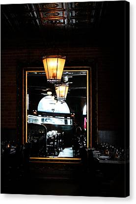 Mirror In Restaurant Canvas Print by Cynthia Guinn
