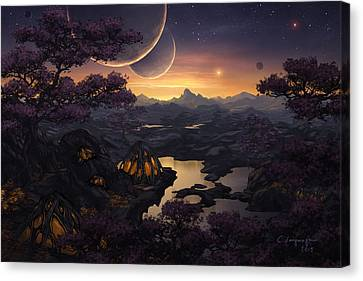 Mirror Lakes Canvas Print by Cassiopeia Art