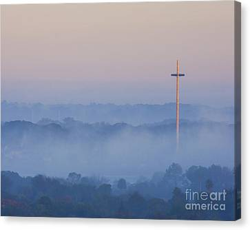 Mission Cross In Fog At Sunrise Canvas Print by Jackie Hird
